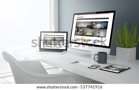 3d rendering of desktop with all devices showing modern design magazine website. All screen graphics are made up.