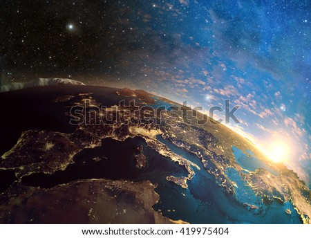 3D rendering of detailed colorful Earth,  highly detailed planet earth in the morning  Elements of this image furnished by NASA
