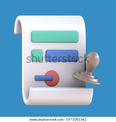 3D rendering of document icon illustration. Legal document.