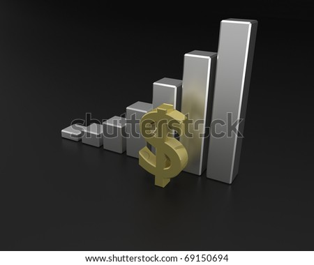 3D rendering of dollar financial graph.
