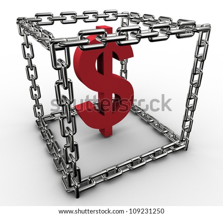3d rendering of dollar sign in the chain box