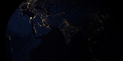 3d rendering of Earth at midnight in Asia continent; China, India, Japan and other countries.