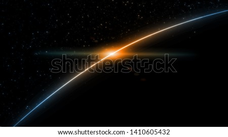 3D Rendering of earth from space with run rising and ray light flare at horizon among glowing stars in galaxy. For wallpaper, sci fi, science or technology background Photo stock ©