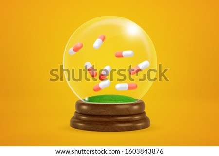 3d rendering of eight two-colored pills floating inside snowglobe on amber background. Healthcare. Modern medicine. Pharmaceutical business.