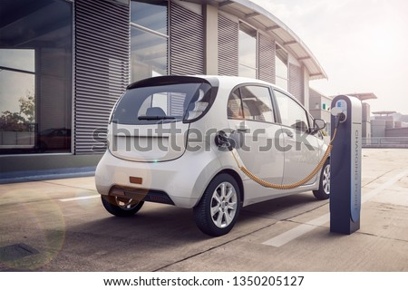 3d rendering of Electric car or vehicle at charging station charges battery with cable or charger for ecological range and sustainable energy