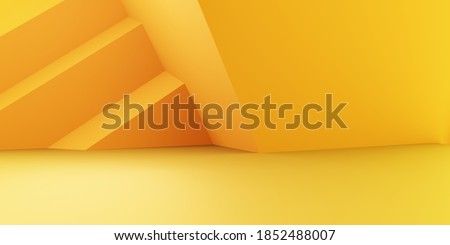 3d rendering of empty yellow orange abstract geometric minimal concept background. Scene for advertising, cosmetic, showroom, banner, fashion, technology, business. Illustration. Product display