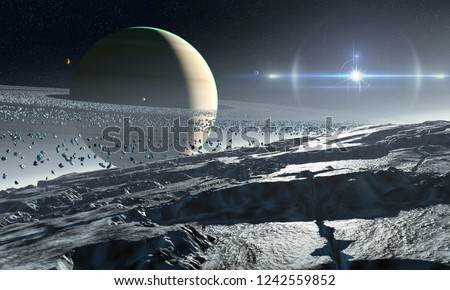 3D rendering of Enceladus, a moon of Saturn