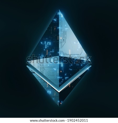 3D Rendering of Ethereum (ETH) crypto currency. Glossy metal surface with circuit board imprint and glowing led. For crypto currency market, token exchange promoting, advertising purpose
