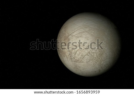 3D rendering of Europa, one of the moon of Jupiter. Stockfoto ©