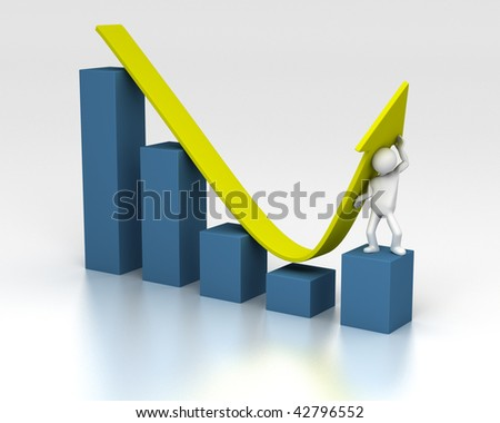 3D rendering of figure helping chart upwards despite of a downturn