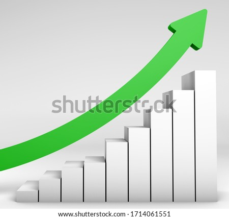 3D rendering of finance and economy concept. Upturn and increasing trends in The World. Upturn candlestick chart with green arrow. Increase global economy. Improving economy trade business.