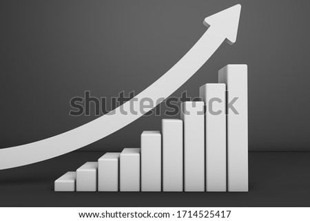 3D rendering of finance and economy concept. Upturn and increasing trends in The World. Upturn candlestick chart with white arrow. Increase global economy. Improving economy trade business.
