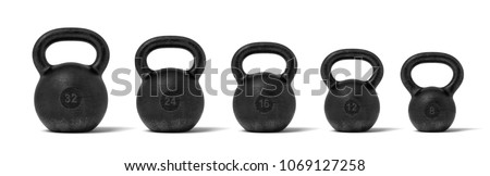 3d rendering of five black iron kettlebells in a single line with different weight stamps of 32, 24, 16, 12 and 8 kg. Weight training. Lifting heavy equipment. Different weights for bodybuilding.