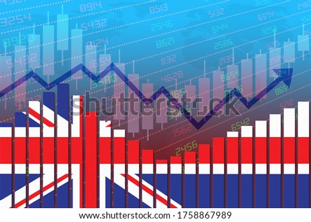 3D rendering of flag of UK or Britain on bar chart concept of economic recovery and business improving after crisis such as Covid-19 or other catastrophe as economy and businesses reopen again.
