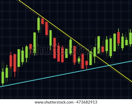 3d rendering of forex candlestick chart over dark background
