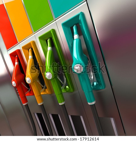 3D rendering of four brightly colored gas pumps