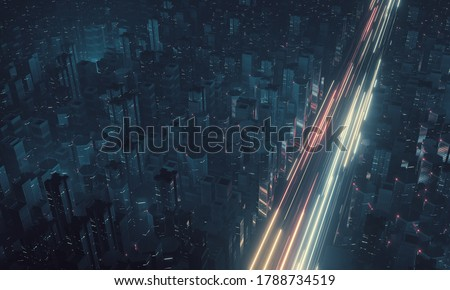 3D Rendering of free way at night in large mega city with many tall buildings. Top aerial view. Concept of next generation technology, fin tech, big data, 5g fast network, machine learning Foto stock ©