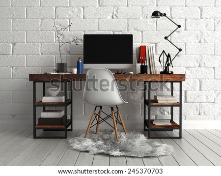 3D Rendering of Front View of Personalized Elegant Worktable with Computer, Lamp and Documents, Paired with Single Chair on a Furry Cloth.