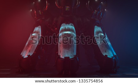 3d rendering of futuristic cryogenic capsules or containers in the interior of a spacecraft. Science fiction cryonics technology for humans. Volumetric neon light illuminates cryopod with misted glass