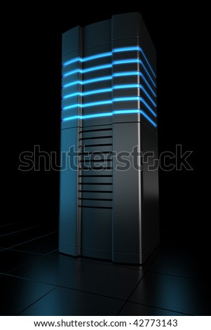 3d rendering of futuristic server