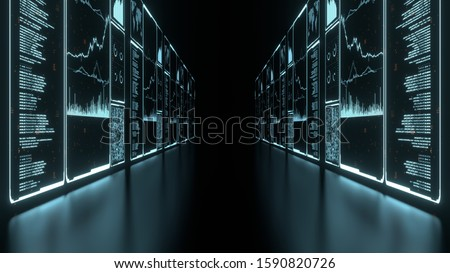 3D Rendering of glowing led blue color of business information data on high tech glass panel. Concept for financial advisory using artificial intelligence technology. Stock photo ©
