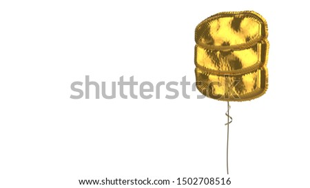 3d rendering of gold balloon shaped as symbol of three memory discs isolated on white background with ribbon