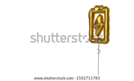 3d rendering of gold balloon shaped as vertical vertical symbol of charging empty battery with flash isolated on white background with ribbon