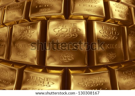 3d rendering of gold bullion.
