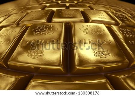 3d rendering of gold bullion.