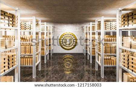 3d rendering of gold ingot in bank vault view from inside Сток-фото ©