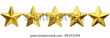 3d rendering of 5 gold stars - stock photo