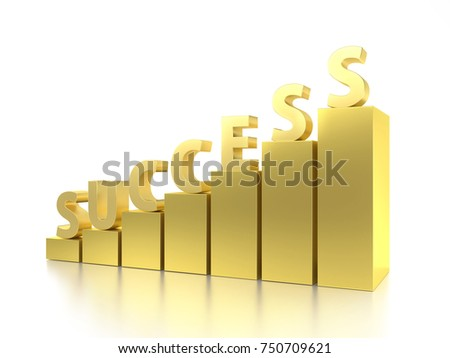 3D rendering of golden bar graph with Success word on top over white background #750709621