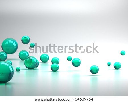 3D rendering of green sphere background