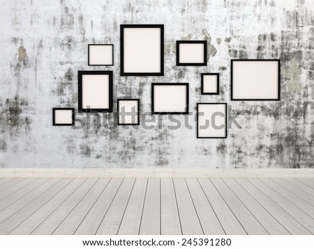 3D Rendering of Group of empty simple rectangular picture frames in different sizes hanging on a wall with an abstract mottled grey pattern conceptual of a gallery, exhibit or museum
