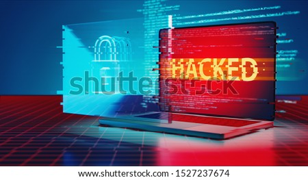 3D Rendering of hacked logo on laptop and lock icon hologram. Concept of privacy data being hacked and breached from internet technology threat. Stock photo ©