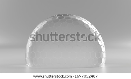 3D Rendering of hexagon grid sphere nano shield in half tone color on reflection floor and dim light at center for your text, logo, product. Concept of protection, anti virus, security.