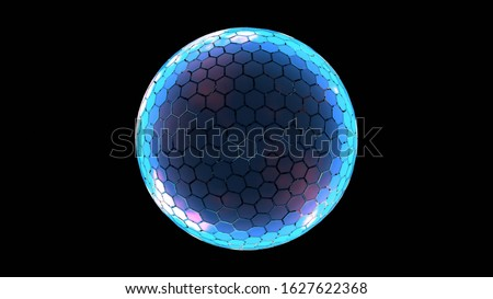 3D Rendering of hexagon grid sphere nano shield with glowing edge color and dim at center for your text, logo, product. Concept of protection, anti virus, security.