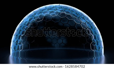 3D Rendering of hexagon grid sphere nano shield with glowing edge color on reflection floor and dim light at center for your text, logo, product. Concept of protection, anti virus, security.