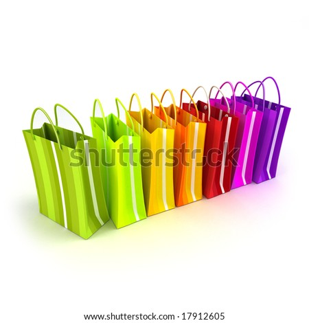 3D rendering of high quality looking colorful stripped shopping bags against a white background