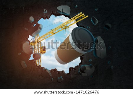 3d rendering of hoisting crane carrying brown coffee paper cup and breaking black wall leaving hole in it with blue sky seen through hole. Win mass market. Build new coffee shops. Have coffee break.