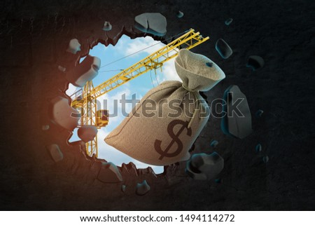 3d rendering of hoisting crane carrying canvas bag with dollar symbol on and breaking wall leaving hole in it with blue sky seen through. Invest in construction. Develop cities. Enhance urban sprawl.