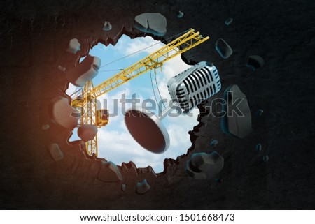 3d rendering of hoisting crane carrying metal microphone and crashing through black wall with blue sky seen through hole. Music industry. Song contest. Buiding concert halls.