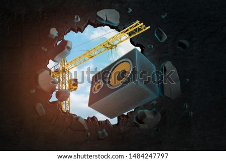 3d rendering of hoisting crane carrying sound column speaker and breaking hole in wall with blue sky seen through. Sound equipment. Music industry. Qualities of sound.