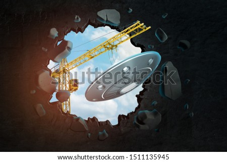 3d rendering of hoisting crane carrying UFO and breaking black wall leaving hole in it with blue sky seen through. Construction. Innovative designs. New creative ideas.