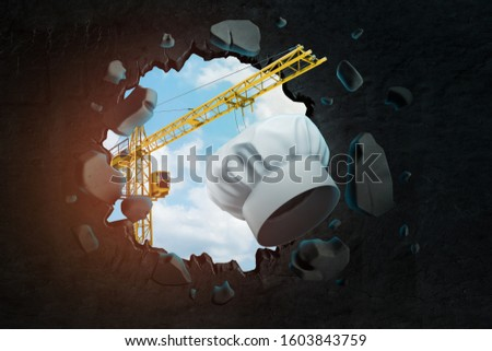 3d rendering of hoisting crane carrying white chef's toque and breaking black wall leaving hole in it with blue sky seen through. Meals and cooking. Restaurant business. Graphic design.