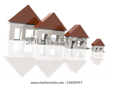 3d rendering of houses getting smaller over white