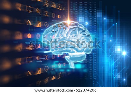 3d rendering of human  brain on technology background  represent artificial intelligence and cyber space concept