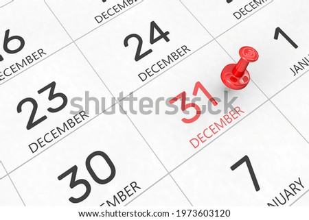 3d rendering of important days concept. December 31st. Day 31 of month. Red date written and pinned on a calendar. Winter month, day of the year. Remind you an important event or possibility. Zdjęcia stock ©