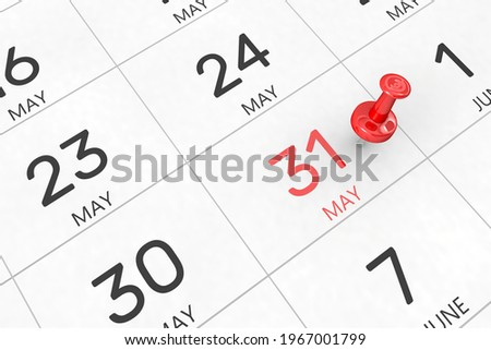 3d rendering of important days concept. May 31st. Day 31 of month. Red date written and pinned on a calendar. Spring month, day of the year. Remind you an important event or possibility. Zdjęcia stock ©