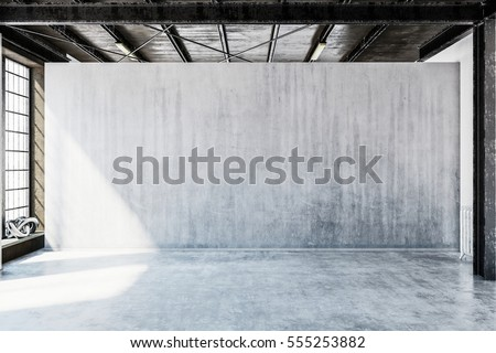 3D rendering of industrial or urban style room with clear concrete floor and large blank wall with copy space